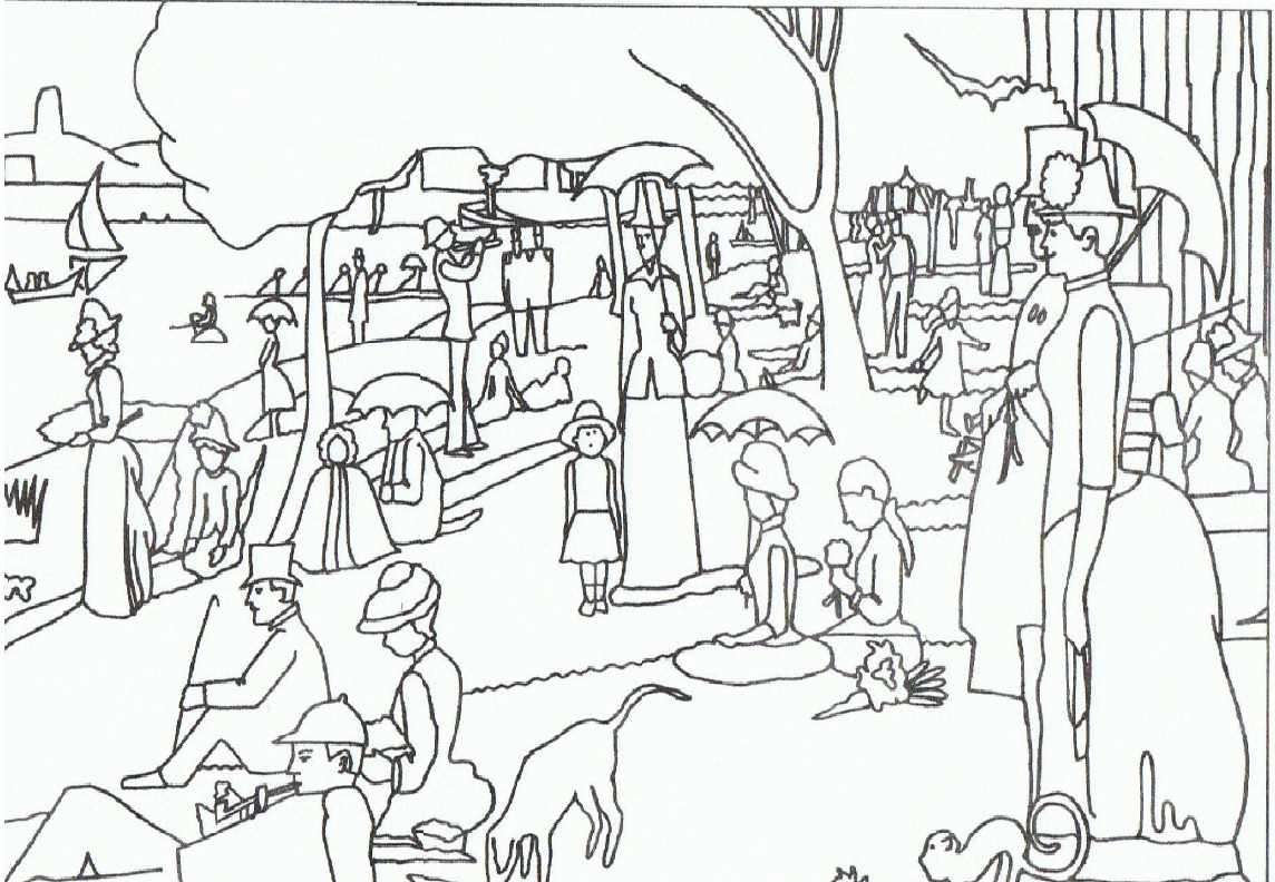 george seurat coloring pages - il puntinismo spiegato ai bambini